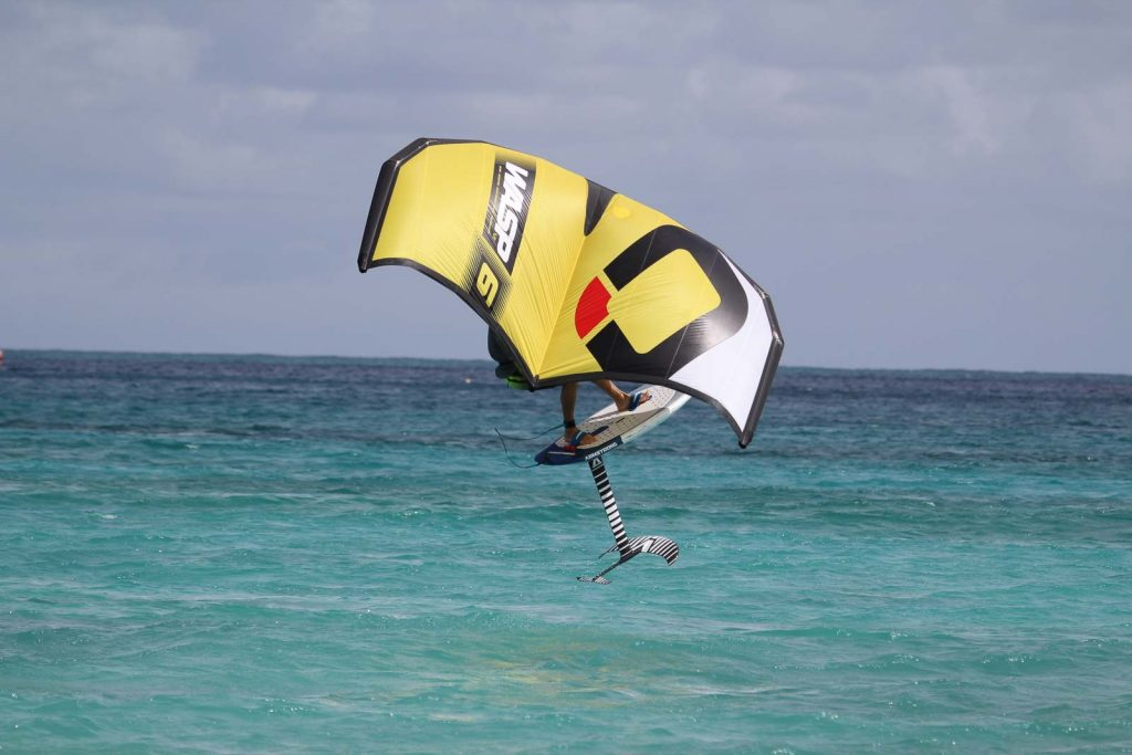 Neal Gent jumping his wingsurfer
