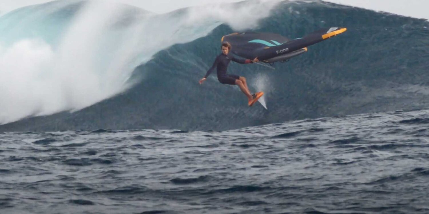 Titouan Galea wing foiling in waves