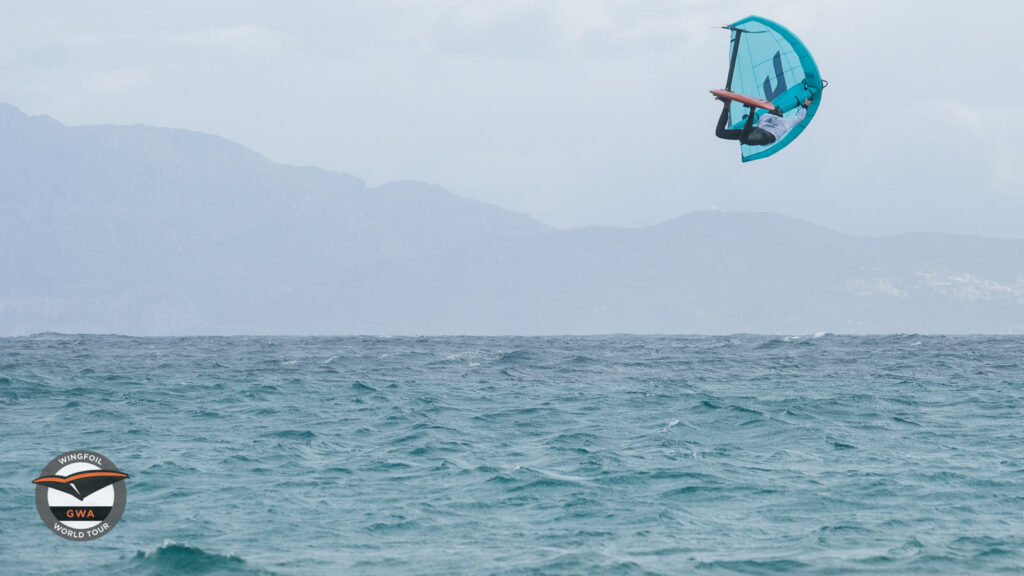 Maxime Chabloz competing at the GWA Tarifa Wing Pro