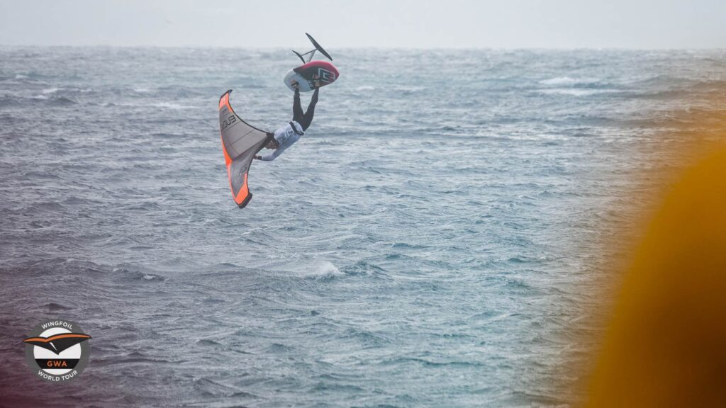 Swiss freestyle wing foiler Balz Muller competing and winning at the GWA Tarifa Wing Pro